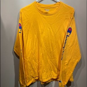 Embroidered Champion Yellow Long Sleeve Tee